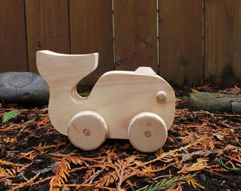 Pull Toy Whale-Moving Parts When Pulled-Handmade Wood Pull Toy, Eco Friendly