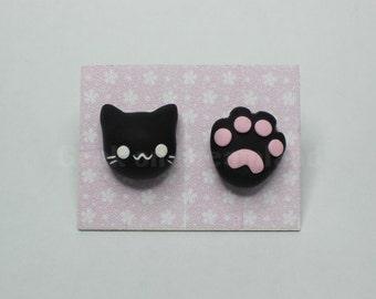 Cat Paw earrings studs kawaii