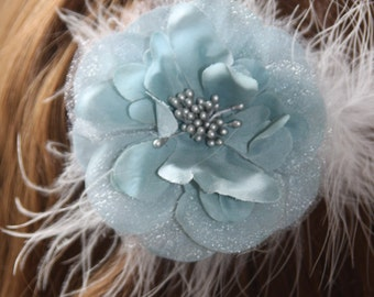 wedgewood blue flower hairclip, bridal hairclip, blue/grey flower hairclip, wedding flowers, silk & feather hair accessory, vintage wedding