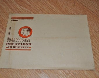 Lot of 3: 1950's Human Relations In Business Mailing Envelopes, Vintage Human Resources History!