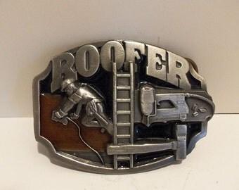 Vintage ROOFER Siskiyou Enameled Belt Buckle 1989 Made in USA