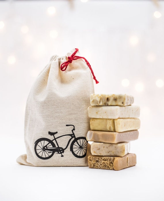SAMPLER | Six 1 oz Soap Bars in Fun Bicycle Drawstring Bag | Perfect for Travel, Guest Bathrooms, Gifting