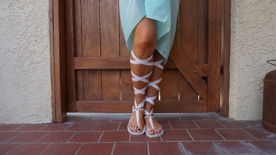 Knee High Lace Up White Gladiator Sandals - FREE SHIPPING in the USA - Women's Sandals-Lace Up Sandals - Vegan Sandals-Boho Sandals
