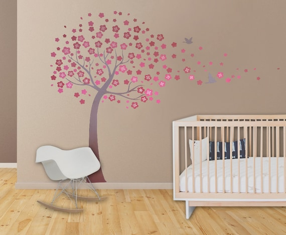 Wall decals cherry blossom tree elegant style large wall decal for Cherry blossom bedroom ideas