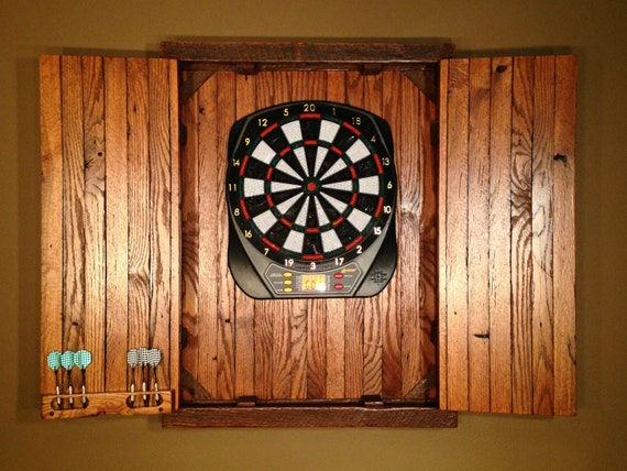 Rustic Large Electronic Dartboard Cabinet Reclaimed Barn