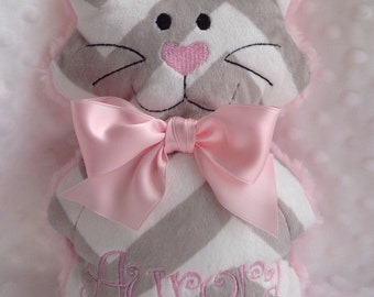 Kitty personalized with name-plush pink and grey plush cat