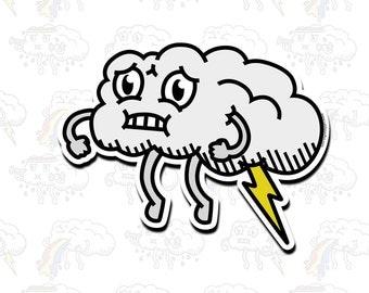 Lightning Farting Cloud Vinyl Sticker