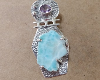 ON SALE - Dominican Republic Larimar, Freeform Slab, Amethyst, .925, Sterling Silver, Pendant, Necklace, Focal, Genuine from the Caribbean