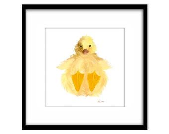 Cute Duckling Nursery Art, Printable Kids Wall Art, Yellow Duck, Print Your Own Art and Cards