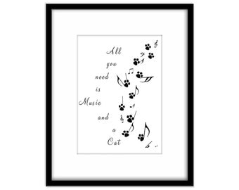 Cat Owners Quote Printable Art, Music Notes Downloadable Wall Art, Cat and Music Download, Typography Print