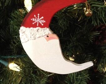 Handmade Wood Crescent Moon Santa Ornament