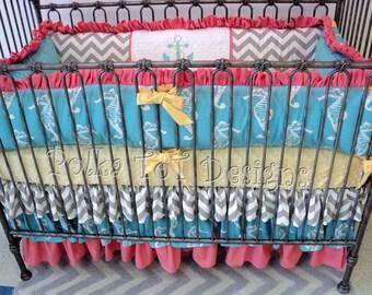 Nautical Crib Bedding : Coral, Gray, Yellow & Aqua