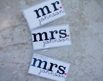 Mr. and Mrs. (& MORE Mrs!) Luggage Tag - Set of THREE Custom Bag Tags, Honeymoon Luggage Tag