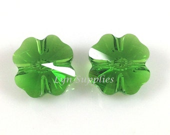 5752 FERN GREEN 12mm Swarovski Crystal Bead Clover Leaf (RARE) 4 pieces or 16 pieces, Limited Quantities Left