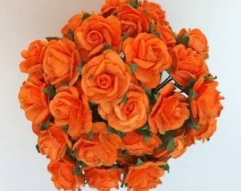 50 Orange Mulberry Paper Roses 10mm (1 cm)
