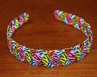 Bright Colorful Zebra Headband