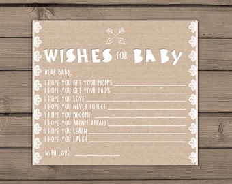 Baby shower wishes for baby Wishes cards Instant download Rustic Lace baby shower Gender neutral Neutral baby shower Digital PRINTABLE DIY