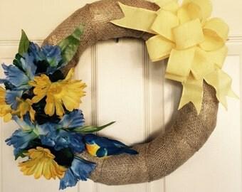 Spring Wreath. Summer Wreath. Burlap Wreath. Floral Wreath. Bird Wreath.
