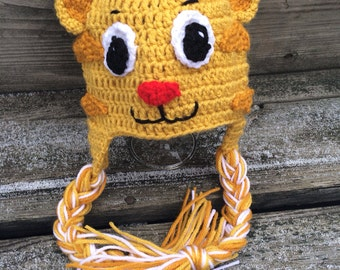 Daniel  the tiger crocheted Daniel tiger hat all sizes tiger crocheted hat