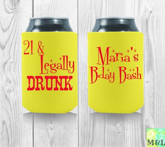 21 & Legally Drunk Fun Birthday Koozies By MintandLemon On