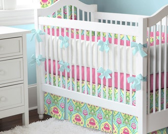 Girl Baby Crib Bedding:Aqua and Bright Pink Floral 4-Piece Crib Bedding Set by Carousel Designs