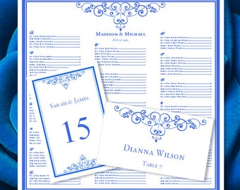 """Wedding Seating Chart """"Vintage"""" Royal Blue Templates Set w. Printable Table Number & Place Card Templates 