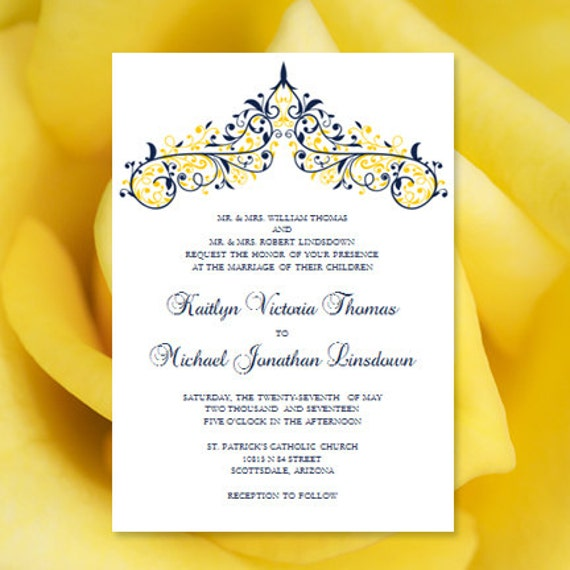 Printable Wedding Invitation Template Victoria – Word Document Invitation Template