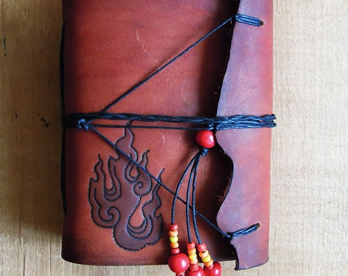 """leather notebook """"fire"""""""