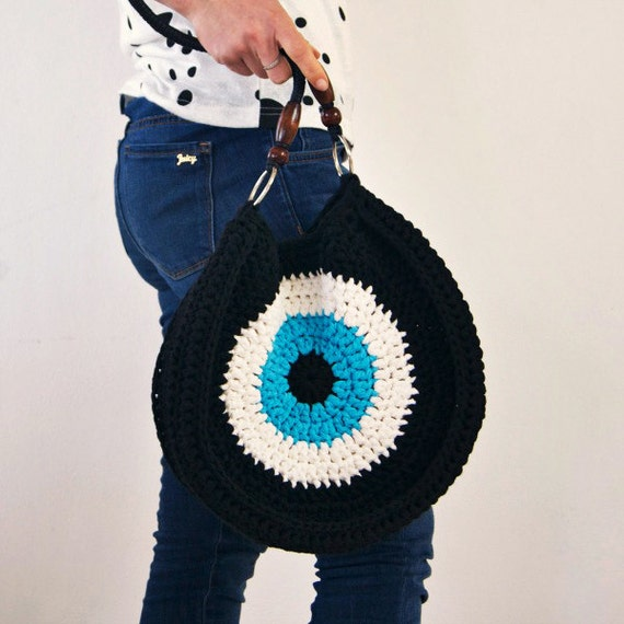 Items similar to Crocheted evil eye bag, Black Handbag ...