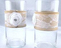 """Wedding Vases Set of 2 Burlap and Lace White Satin Rhinestone Rosette  Glass Vase 7"""" Rustic Centerpiece Candle Holder Vase Wedding Vintage"""
