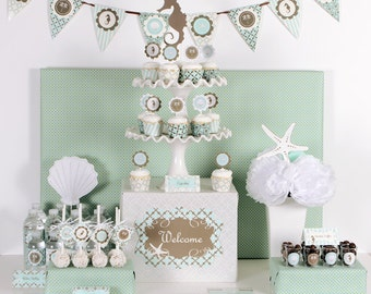 Beach Bridal Shower Decorations Banner Ideas Favor Stickers KIT Beach Theme Wedding Birthday Party Baby Shower Decor (EB2224)