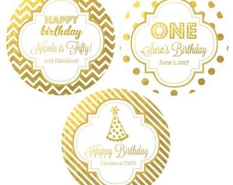 Personalized Birthday Stickers 1st Birthday Labels Happy Birthday Stickers Happy Birthday Labels 1st Birthday Labels (EB4007FY) - 12  LABELS