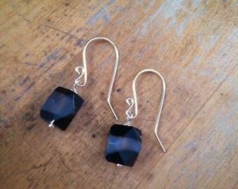 Semitranslucent black agate earrings