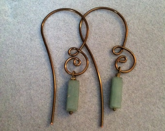 Aventurine and Vintage Bronze Wire Earrings