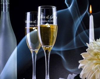 2 Personalized Toasting Flutes - Champagne Glasses - Champagne Flutes - Toasting Flutes -Engraved Toasting Glasses -Custom Champagne Flutes