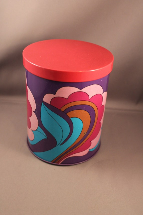 Dazzling 70s Multicolor Round Tin Box with Lid Canister Psychedelic Design pink purple Kitchen Storage Space Age Tea Coffee Cookies 1970s