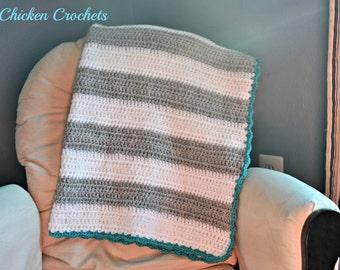 Crochet Striped Baby Blanket, Striped Throw, Crochet Striped Afghan, Crochet Modern Blanket, Crochet Baby Blanket, Knit Baby Blanket