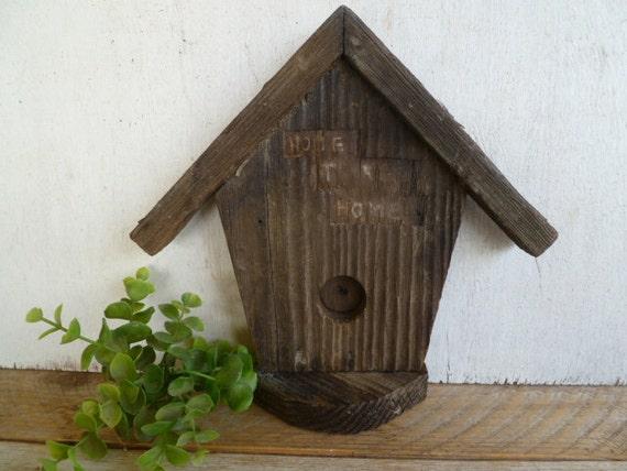 Wooden Birdhouse Wall Decor : Primitive rustic painted wood birdhouse wall decor