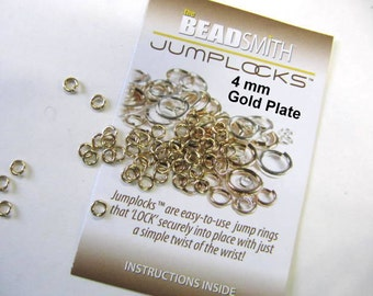Jump Rings, 4 mm, Locking, Gold Plate, Jewelry Findings, 20 Gauge, 200 Piece, Secure Locks, Jewerly Findings