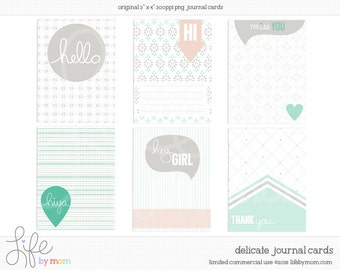 Delicate Digital Journal Cards - 3x4 project life printable scrapbooking journaling note cards - instant download - CU OK