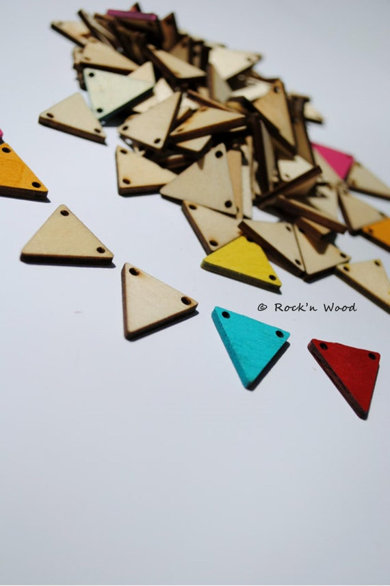 20 - SMALL - DIY Unfinished Wooden Geometric Triangle Pendant or Beads ...
