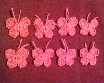 8 Crocheted Hot Pink, Handmade Butterfly Appliques, Embellishments