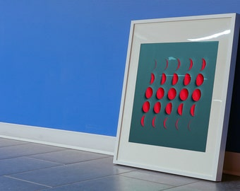 Moon. Graphic phases of the moon giclee print