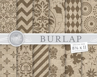 Burlap Digital Paper: BURLAP Printable Pattern Print, Burlap Pattern Download, 8 1/2 x 11 Burlap Scrapbook Prints
