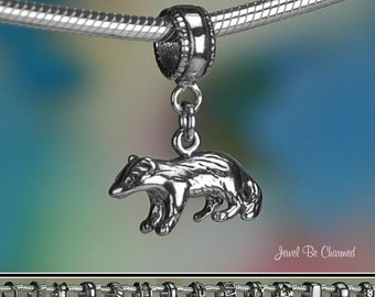 Sterling Silver Badger Charm or Charm Bracelet Solid 925 Honey Badgers
