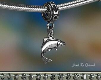 Sterling Silver Salmon Charm or European Style Charm Bracelet .925