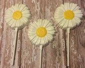 12 Daisy Chocolate Lollipops Wedding Birthday Party Favors Bridal Baby Shower Easter Sweets Table Candy Buffet