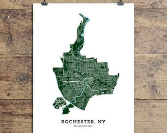 Map of Rochester, NY Art Print