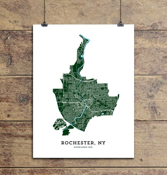 Map of rochester ny art print