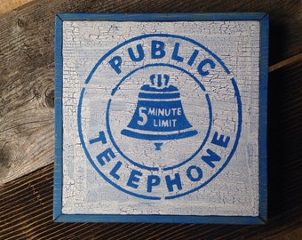 Vintage Shabby Chic 'Telephone' Sign, hand crafted,  blue and white